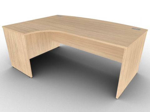 Verade Oak Avalon Left Hand Side Panel Corner Desk With Bow Front, Free Delivery And Installation