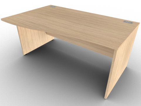 Verade Oak Left Hand Wave Side Panel Desk, Floor Levellers, 15 Stunning Finishes, Free Delivery