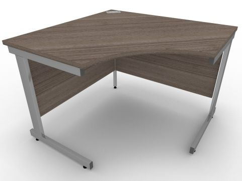 AVALON58 Anthracite Symmetrical Cantilever Corner Desk, Silver Metal Frame, Available In 15 Finishes, Free Installation