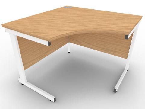 AVALON58 Stone Oak Symmetrical Cantilever Corner Desk, White Metal Frame, 5 Year Warranty, Free Installation