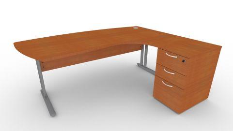 Optimize Executive Corner Desk And Pedestal In Cherywood