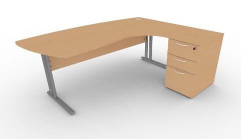 Optimize Executive Corner Desk And Pedestal In Beech