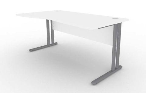 Optimize Left Hand Wave Desk In White