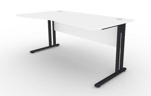 Optimize Left Hand Wave Desk In White V2