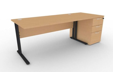 Optimize Rectangular Desk And Desk Pedestal Bundle In Beech V2