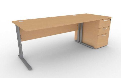 Optimize Rectangular Desk And Desk Pedestal Bundle In Beech