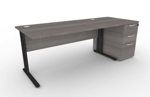 Optimize Rectangular Desk And Desk Pedestal Bundle In Cedar V2