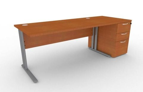 Optimize Rectangular Desk And Desk Pedestal Bundle In Cherywood