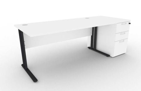 Optimize Rectangular Desk And Desk Pedestal Bundle In White V2