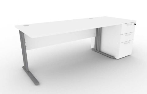 Optimize Rectangular Desk And Desk Pedestal Bundle In White