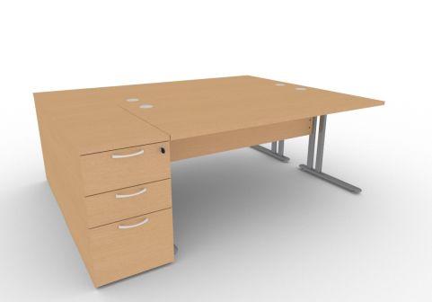 Optimize Two Person Desk Bundle Deal In Beech