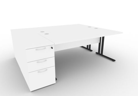 Optimize Two Person Desk Bundle Deal In White V2