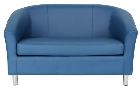 Zoron Leather Two Seater Sofa In Royal Blue Front View