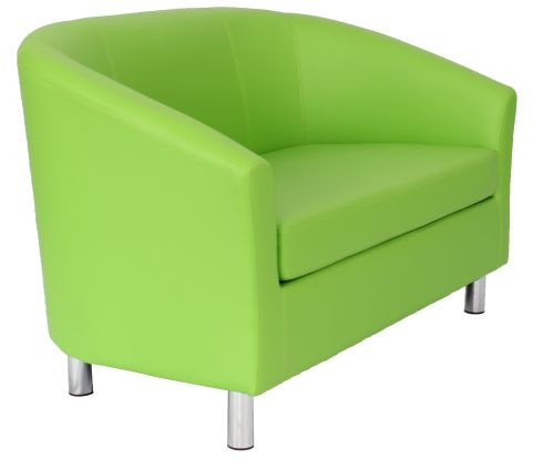 Zoron Leather Sofa Inlime Green With Chrome Feet Angle View