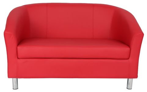 Zoron Red Leather Sofa With Chrome Feet Front View