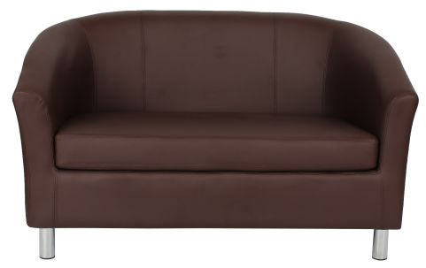 Zoron Brown Leather Sofas With Chrome Feet Front View
