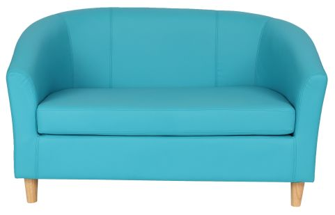 Zoron Two Seate Leather Sofa In Light Blue With Wooden Feet Front View