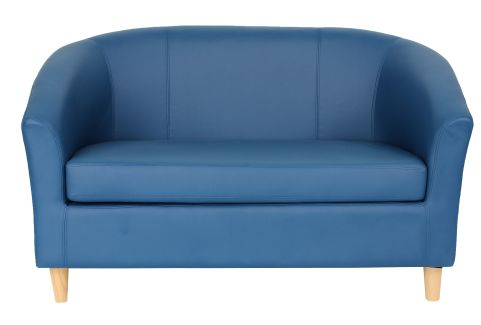 Zoron Leather Sofa Royal Blue With Wooden Feet Front View
