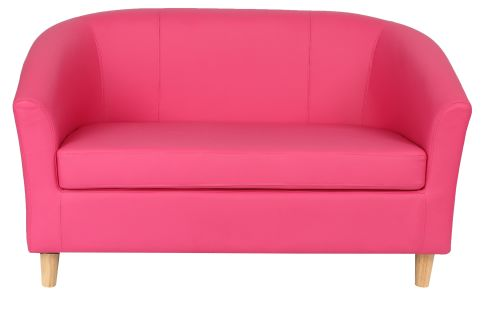 Zoiron Two Seater Sofa In Pink With Wooden Feet Front View