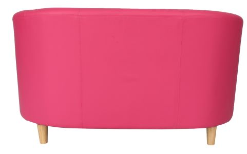Zoron Two Seater Leather Sofa In Pink Rear View