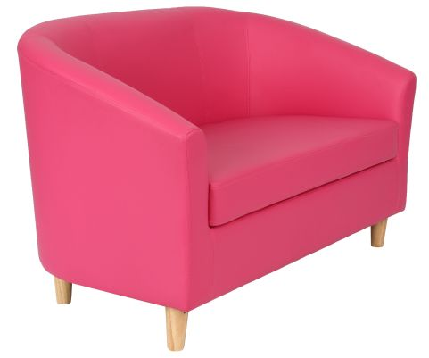 Zoron Two Seater Leather Sofa In Pink Angle View