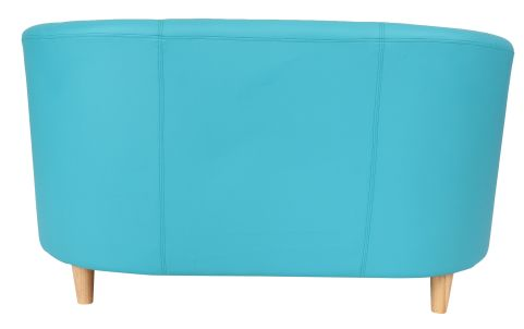 Zoron Two Seater Sofa In Light Blue Rear View