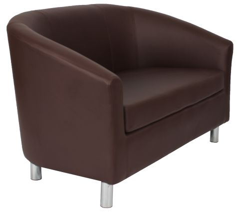 Zoron Brown Leaher Sofas With Chrome Feet Angle View