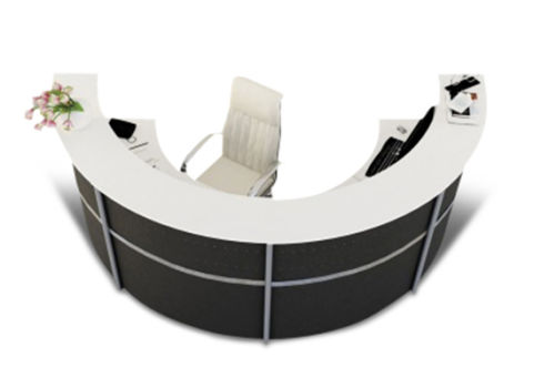 Deco Plus Half Moon Reception Desk With Anthracite Metal Fronts