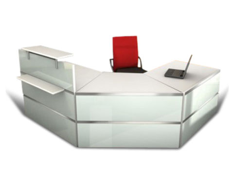 Capri Glass Reception Desk 3 New Save