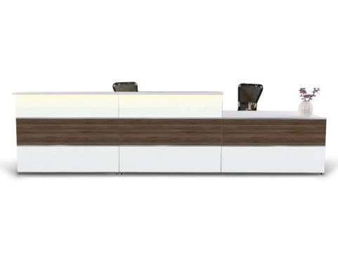 Capri Walnut & White Reception Desk 4