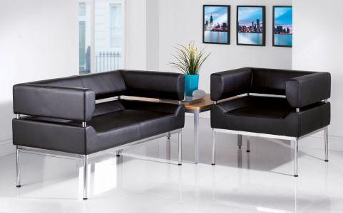 Corsica Black Faux Leather Sofa