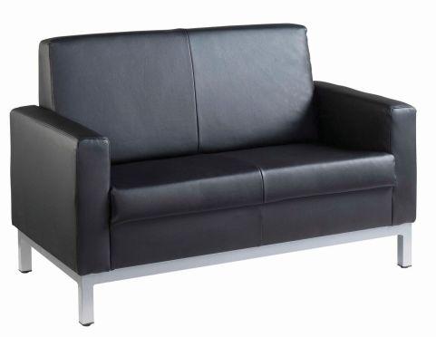 Nebraska Black Faux Leather 2 Seater
