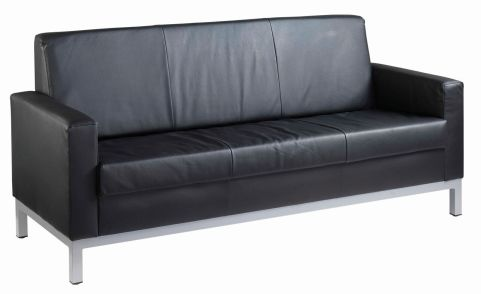 Nebraska 3 Seater Black Faux Leather