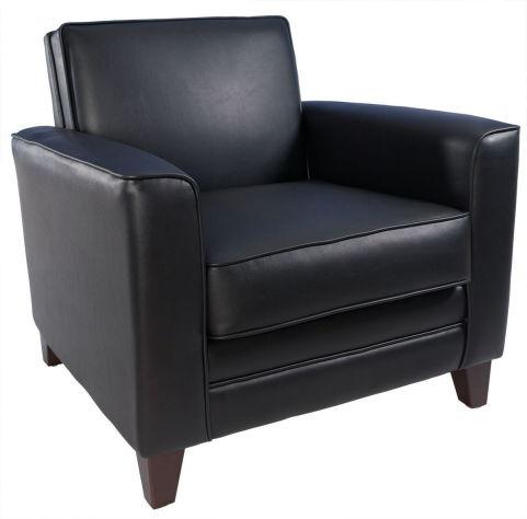 Newport Armchair Leather Faced Black