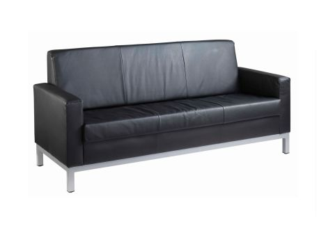Nebraska Black Faux Leather Sofa 3 Seater