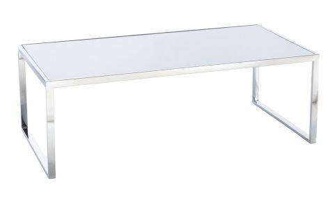 White Toughned Glass Coffee Table Chrome Frame