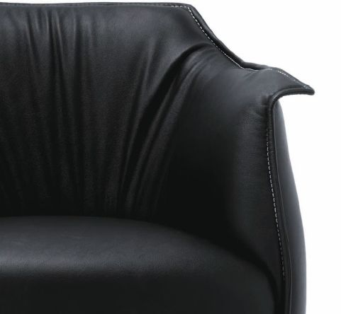 Arm Wing Soft Chair Black Leather