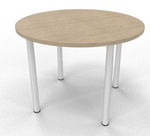 OPTIMIZE CIRCULAR MEETING TABLE - COLUMN LEGS White And Bleached Oak