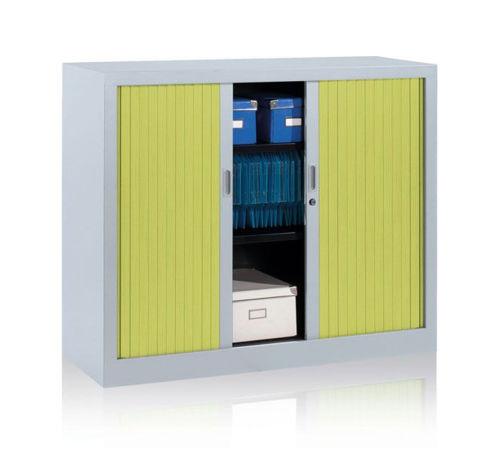 Jestor Tambour Cupboards Green Shutter Doors