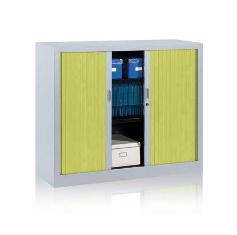 Jestor Tambour Cupboard Green Doors