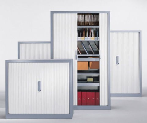 Metal Side Tambour Units Silver Carcass Whiet Tambour Doors