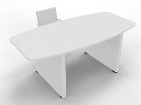 Draycott Barrel Meeting Table White Mood View