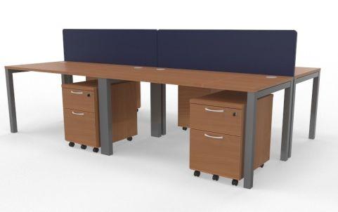 Draycott Four Person Bench Desk Beech