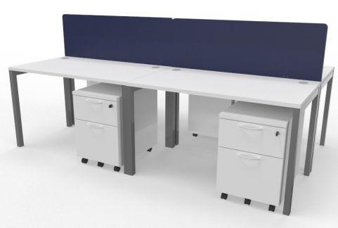 Draycott Four Person Bench Desk White 2400