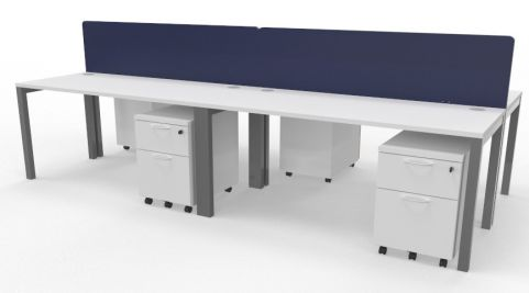 Draycott Four Person Bench Desk White 3200