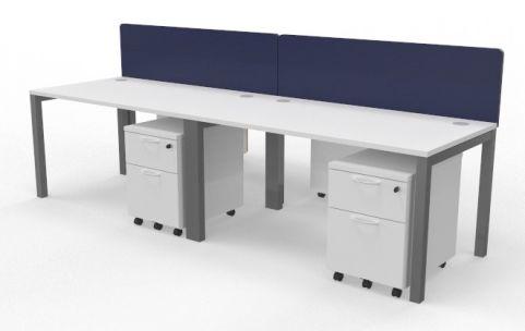 Draycott Four Person Bench Desk White