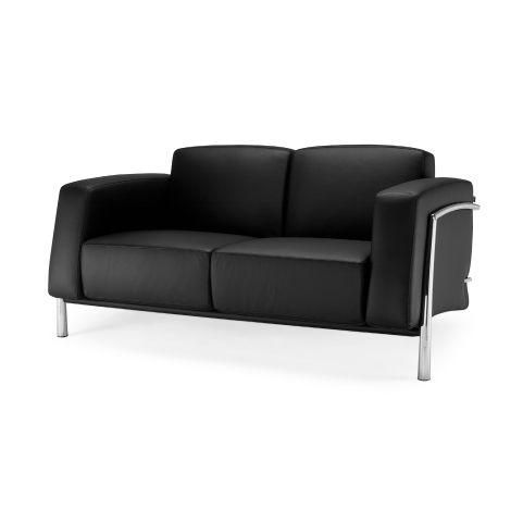 Classique 2 Seater Black Leather Sofa Chrome Frame