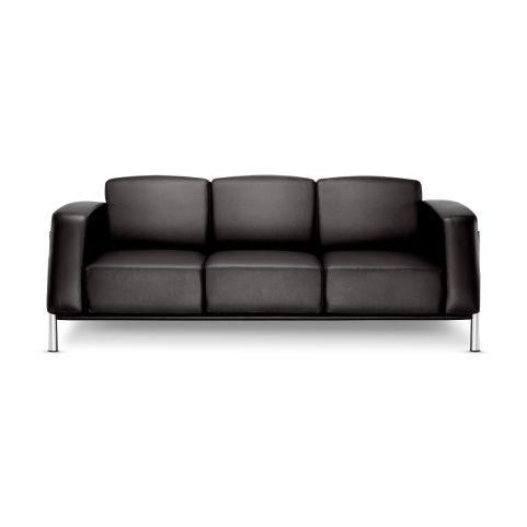 Classique 3 Seater Black Leather Sofa Chrome Frame