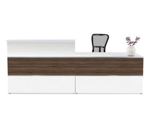 Capri Walnut & White Reception Desk