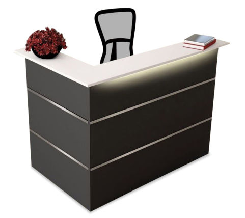 Capri Anthracite Reception Desk Corner Unit Compact